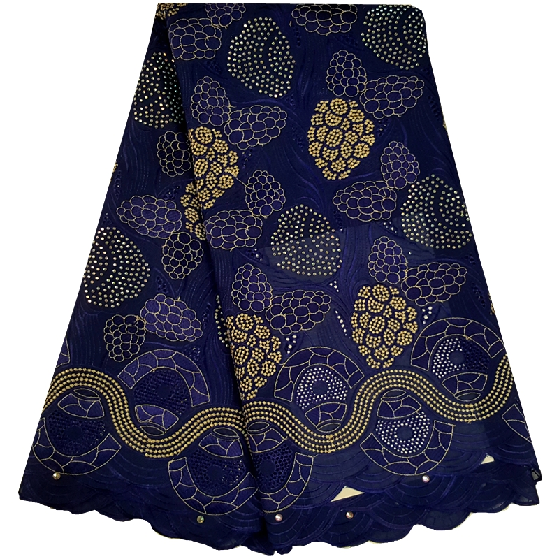 2018 African Dry Lace Fabrics High Quality Cotton Lace Fabric Swiss Voile With Stone Swiss Voile