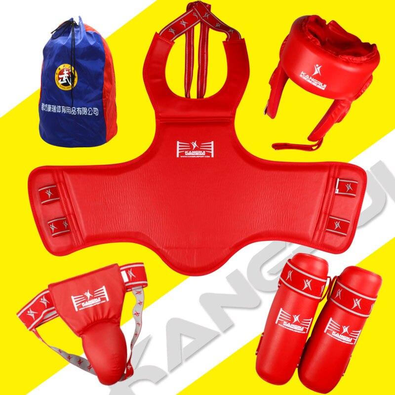 KANGRUI professional sanda protective equipment game standard sanda guards/helmet/leg guards/below protector man woman/bag