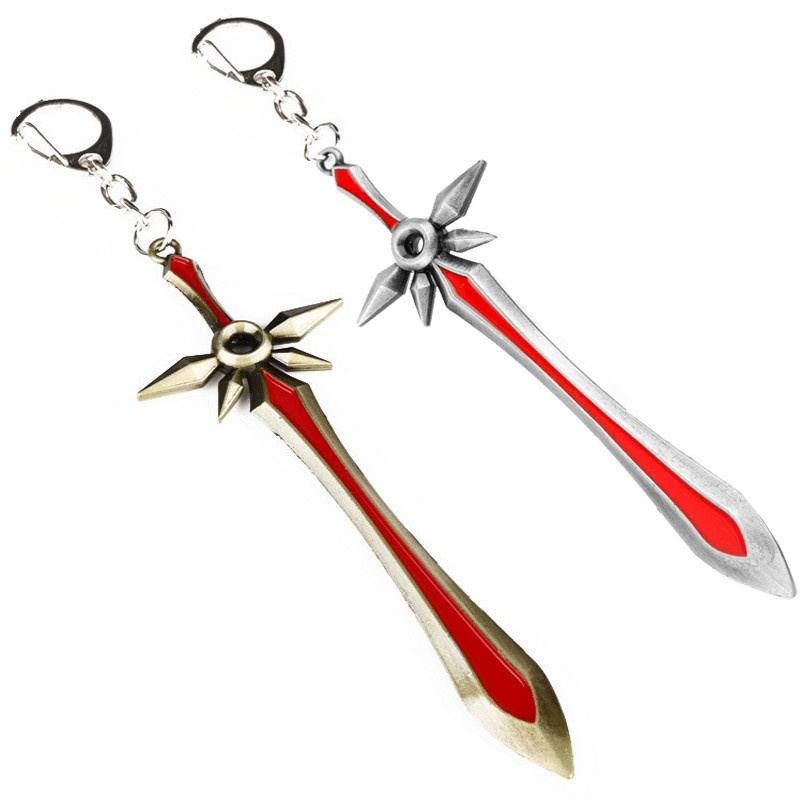 HANCHANG Accessories Online Game Jewelry L OL Leona Weapon Blade Sword Keychain Keyring Key Chains