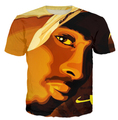Nova moda homens / mulheres Tupac Shakur 2Pac t camisa Harajuku t camisas Casual 3d caráter camiseta hip hop dos homens t