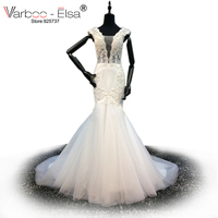 VARBOO ELSA Robe De Mariage Bridal Gown 2017 Beaded Pearl White Mermaid Wedding Dress V Neck