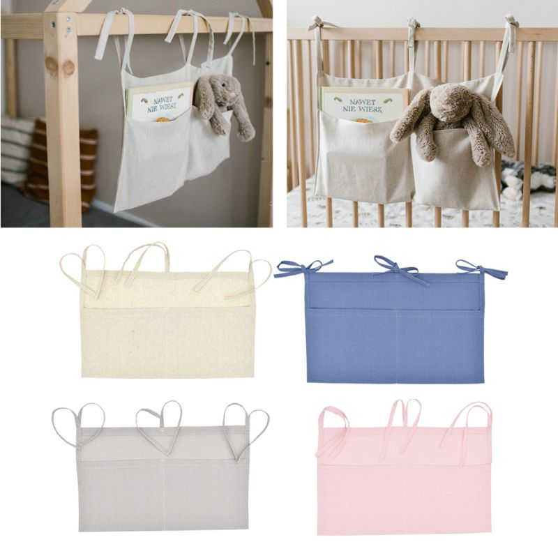 Baby Crib Organizer Bed Hanging Storage Bag For Baby Essentials Multi-Purpose Baby Bed Organizer Hanging Diaper Toys Tissue