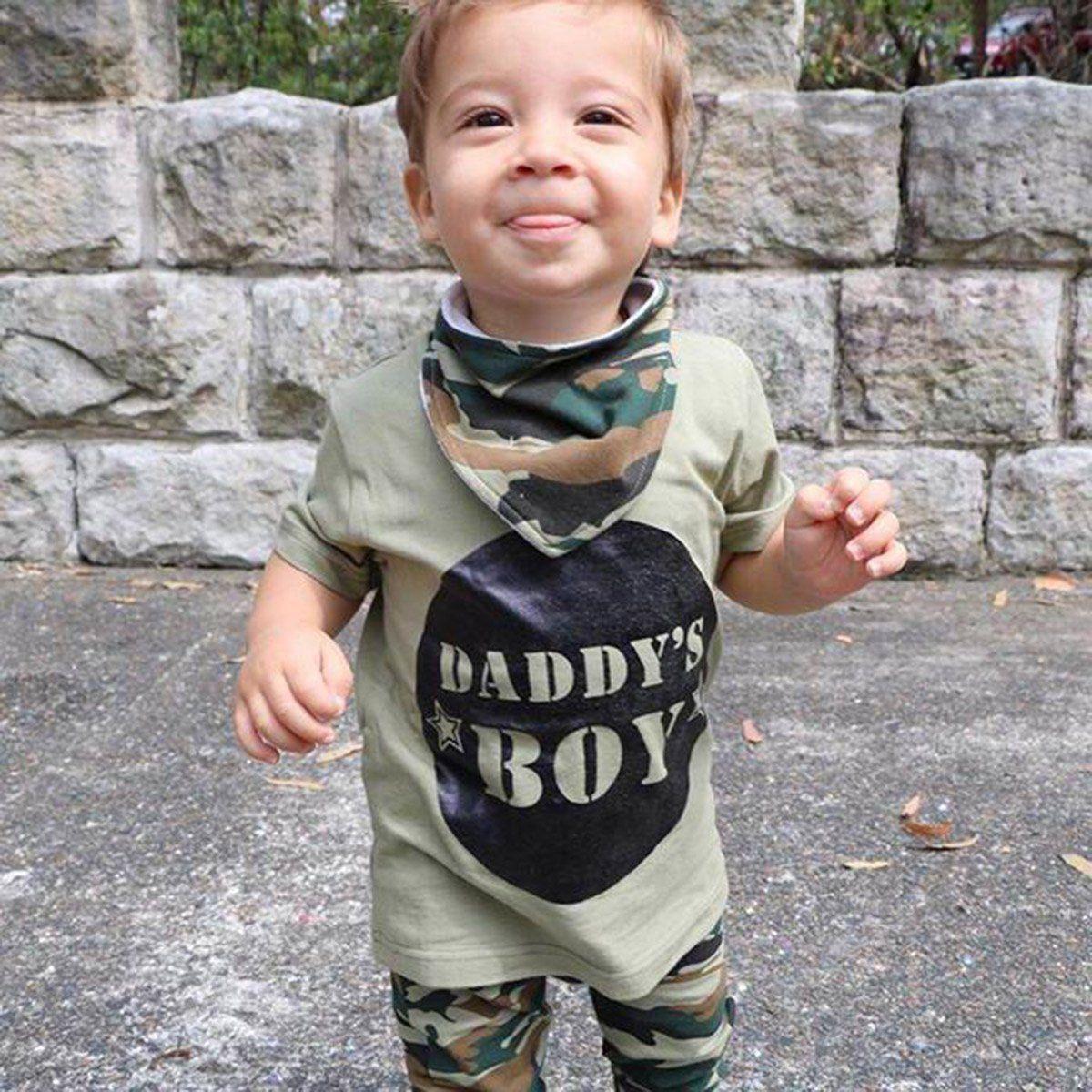Toddler Kids Chłopcy Dziewczęta Topy Camo T-shirt Spodnie Letnie - Ubrania dziecięce - Zdjęcie 3