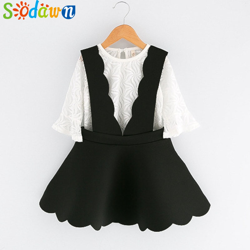 Sodawn 2018 Autumn New Kids Clothing White long-sleeved T-shirt + black dress 2Pcs Girls Clothing Set Sweet children clothing