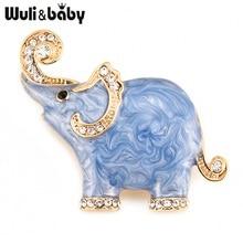 Wuli y bebé blanco azul elefante esmalte broches para mujeres y hombres aleación Rhinestone fiesta animal banquete broche regalos