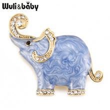 Wuli & baby Wit Blauw Olifant Emaille Broches Voor Vrouwen En Mannen Legering Strass Dier Party Banket Broche Geschenken