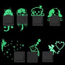 Kids Sticker Decal Decoration Luminous-Switch Cat-Fairy Moon-Star Glow-In-The-Dark Cartoon