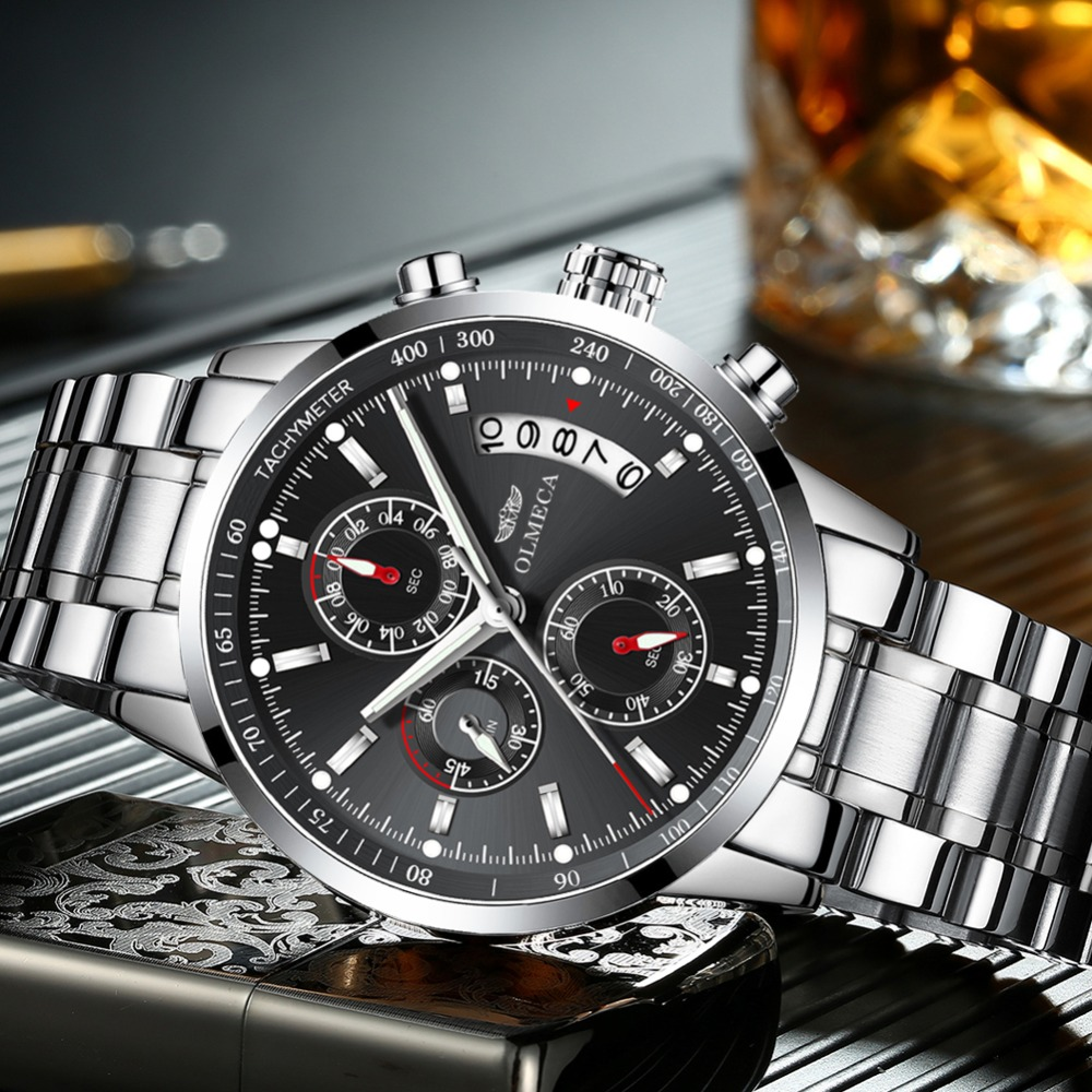OLMECA Top Luxury Brand Watch Men Military Full Steel Waterproof Zegarek Chronograph Quartz Wrist Watch Black Relogio MasculinoOLMECA Top Luxury Brand Watch Men Military Full Steel Waterproof Zegarek Chronograph Quartz Wrist Watch Black Relogio Masculino