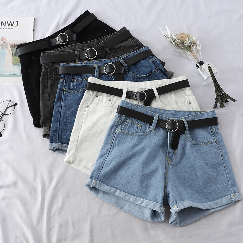 Summer High Waist Denim Shorts New 2019 Women Casual Loose Curling Black Blue Short Shorts Ladies Fashion With Belt Jeans Short
