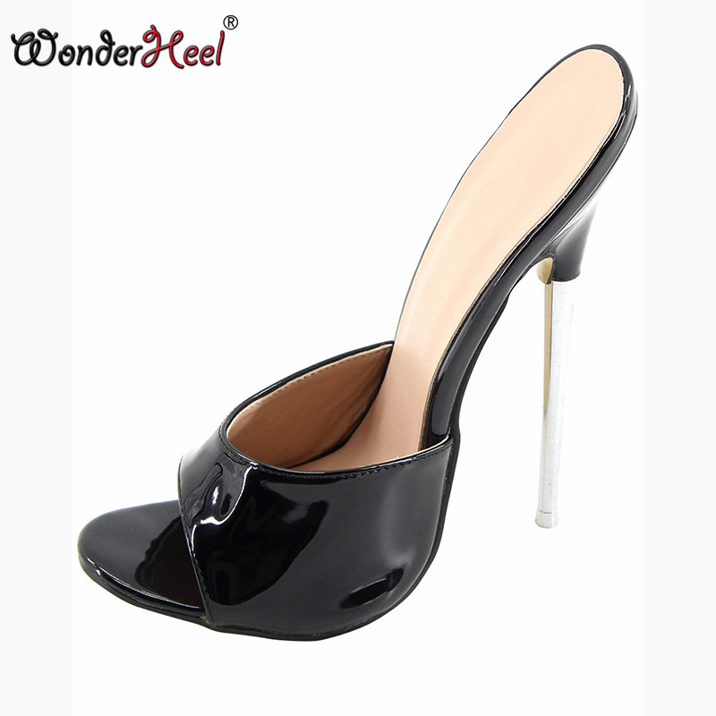 Wonderheel summer Extreme high heel 18cm 7 heel BLACK Sexy fetish High Heel slip on stiletto