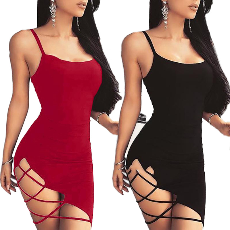 Summer 2019 Women Sexy Strap Dress Fashion Sexy Backless Sleeveless Side Hollow Out  Mini Sling Dresses Sheath Hip Party Dress