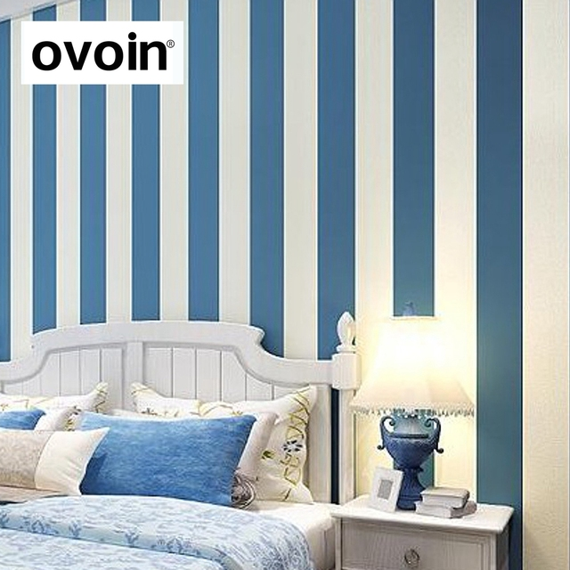 Contemporary Modern Vertical Blue White Striped Wallpaper Plain Bedroom Sofa Background Covering Wall Paper Roll