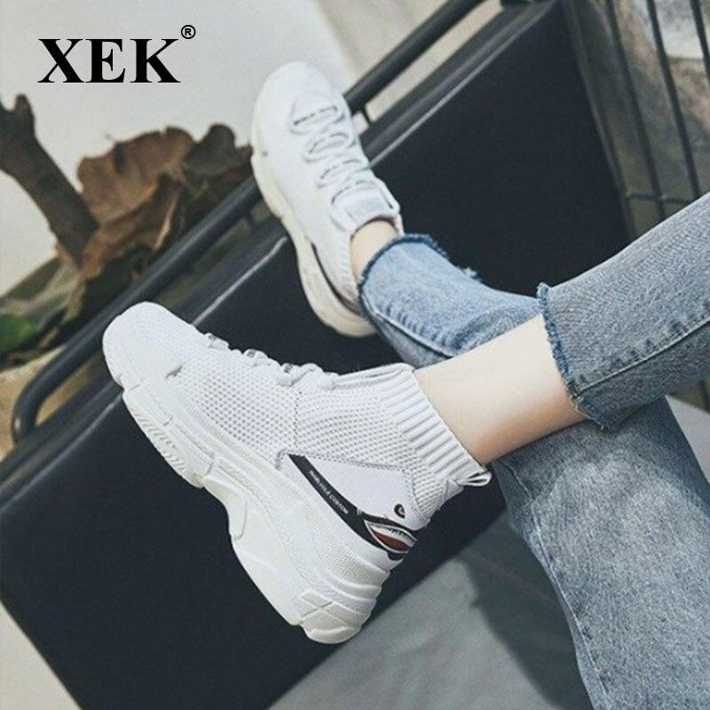 XEK Shark Logo High Top Sneakers Women Knit Upper Breathable Sock Shoes Thick Sole Fashion sapato feminino Black big size ZLL137