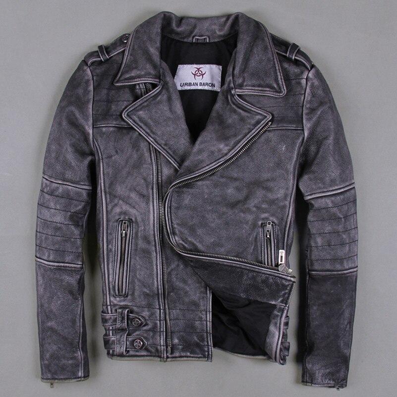 low priced d869b 7be81 US $278.0 |Uomo slim fit giacca di pelle moto d'epoca punk rock stile biker  uomini giacca risvolto abbigliamento in pelle per uomo S XXXL nero-in ...
