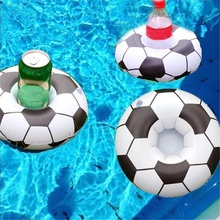 Football Shape Swimming Inflatable Floating Drink Can Cup Holder Pool Bath Toys Float Water Coaster