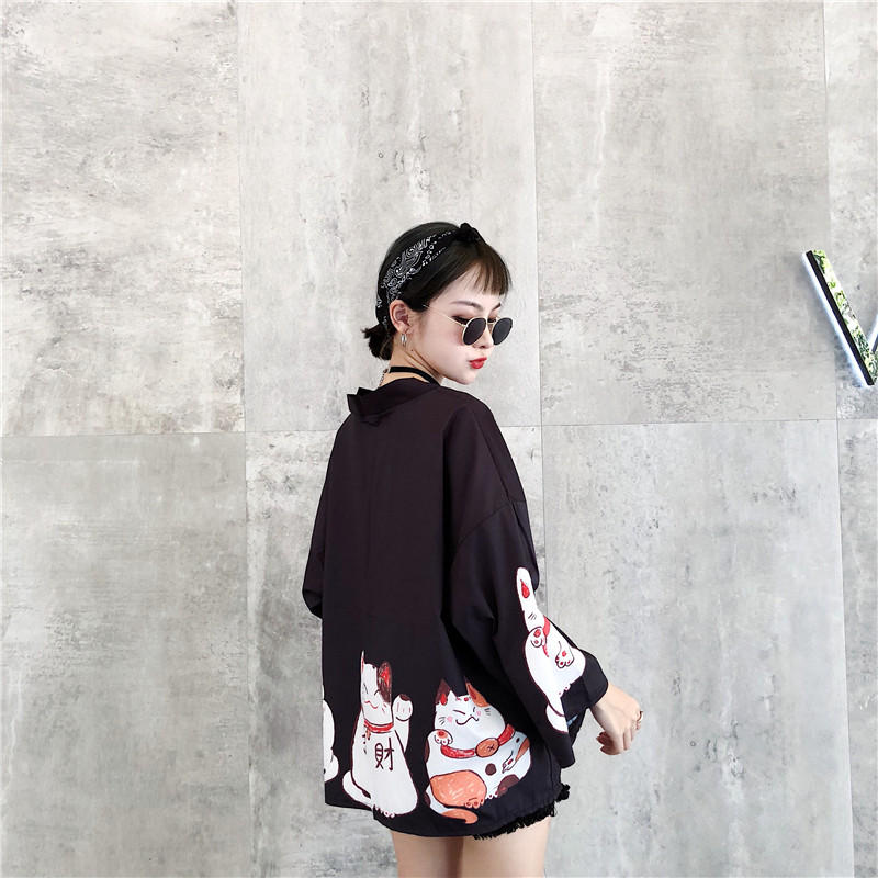 Harajuku Women Coat Japanese Lucky Cats Printing Summer Loose Sleeves Kimono Thin Coat Clothing Women 7