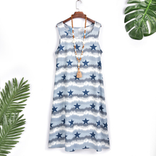 Summer Dress Sleeveless Fashion Star Stripe Print O Neck Women Casual Loose Beach Boho Plus Size vestidos D30