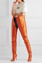 2018 европейские и американские большие размеры модели дефиле косплей для ночного клуба сапоги высокий каблук женские выше колена сапоги С Острым носком