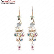 LZESHINE Luxury Fashion Earrings Gold Color Cute Pink Cubic Zircon Girl Earrings For Women Party Jewelry ER0092-C