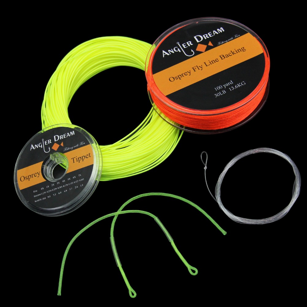 2/3/4/5/6/7/8 WT Fly Fishing Line Combo Weight <font><b>Forward</b></font> Floating Yellow Fly Line 20/30LB Backing Line Tippet Tapered Leader Loop