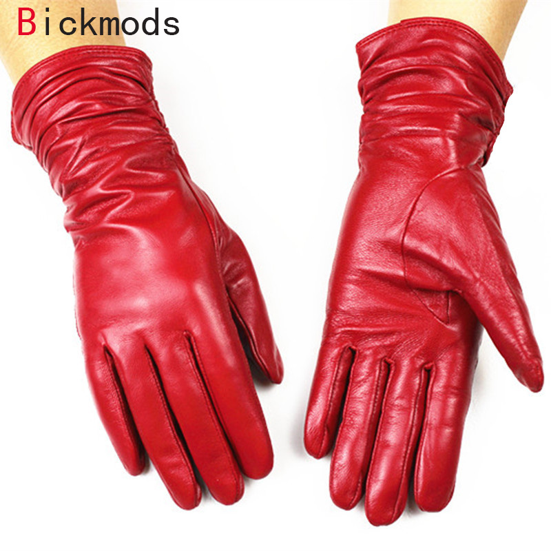 Female Leather Gloves Fashion Loose Style Lengthen  Velvet Lining Autumn And Winter Warm Woman Sheepskin Gloves