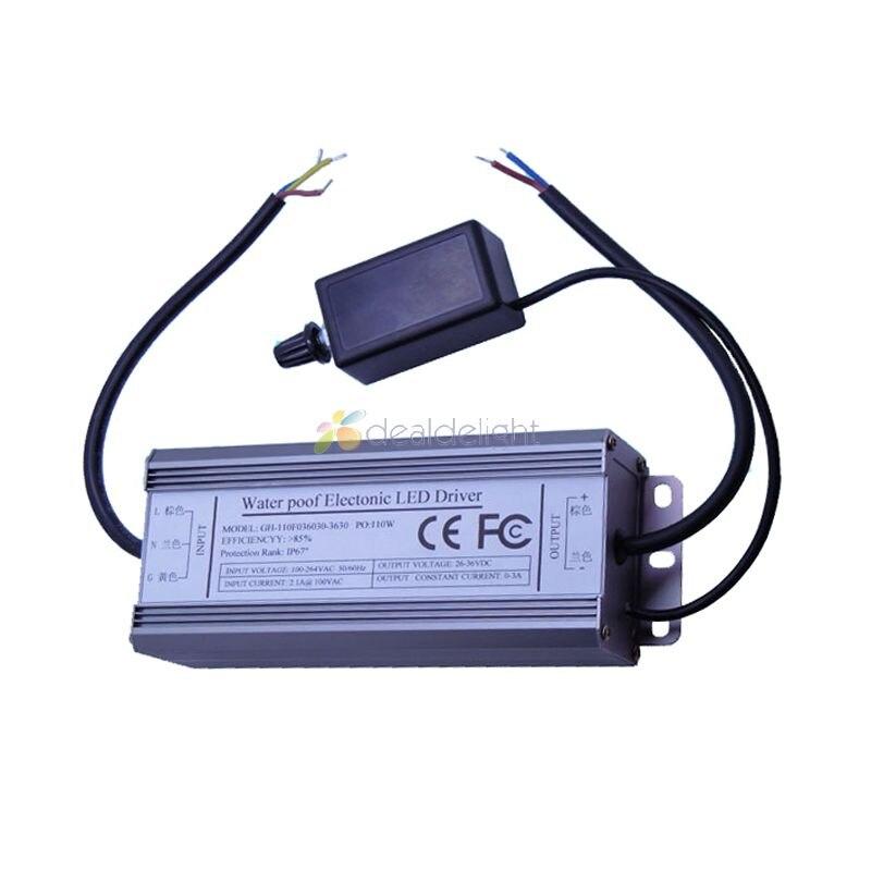 100 W Dimmable Courant Constant LED Driver IP67 Étanche AC à DC30-36V 3000mA pour 100 W LED Haute Puissance Lumière