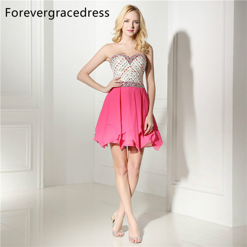 Forevergracedress Real Photos Fuchsia   Cocktail     Dress   Sexy Short Mini Chiffon Beaded Crystals Homecoming Party Gown Plus Size