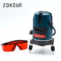 EU plug Zokoun 5 lines 6 points self leveling tilt slash functional 360 degrees rotary outdoor mode OK laser level tools