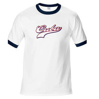 Novelty Design T Shirt Men Cuba Baseball Cuban Flag Color Script Font Team Cuba Cotton T