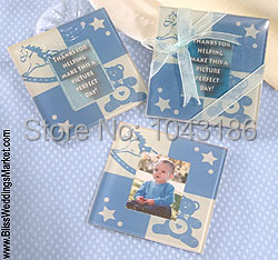 Free Shipping Wedding Favours Baby Teddy Bear Photo Glass Coaster Birthday Party Favor And Giveaways
