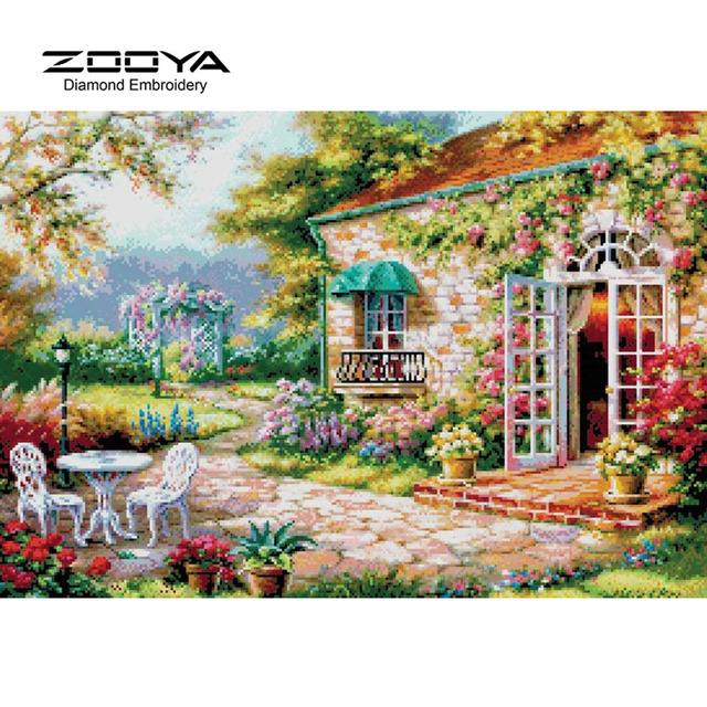 3D DIY Diamond Painting Cross Stitch Beautiful Garden Houses Crystal  Needlework Diamond Embroidery Full Diamond Decorative