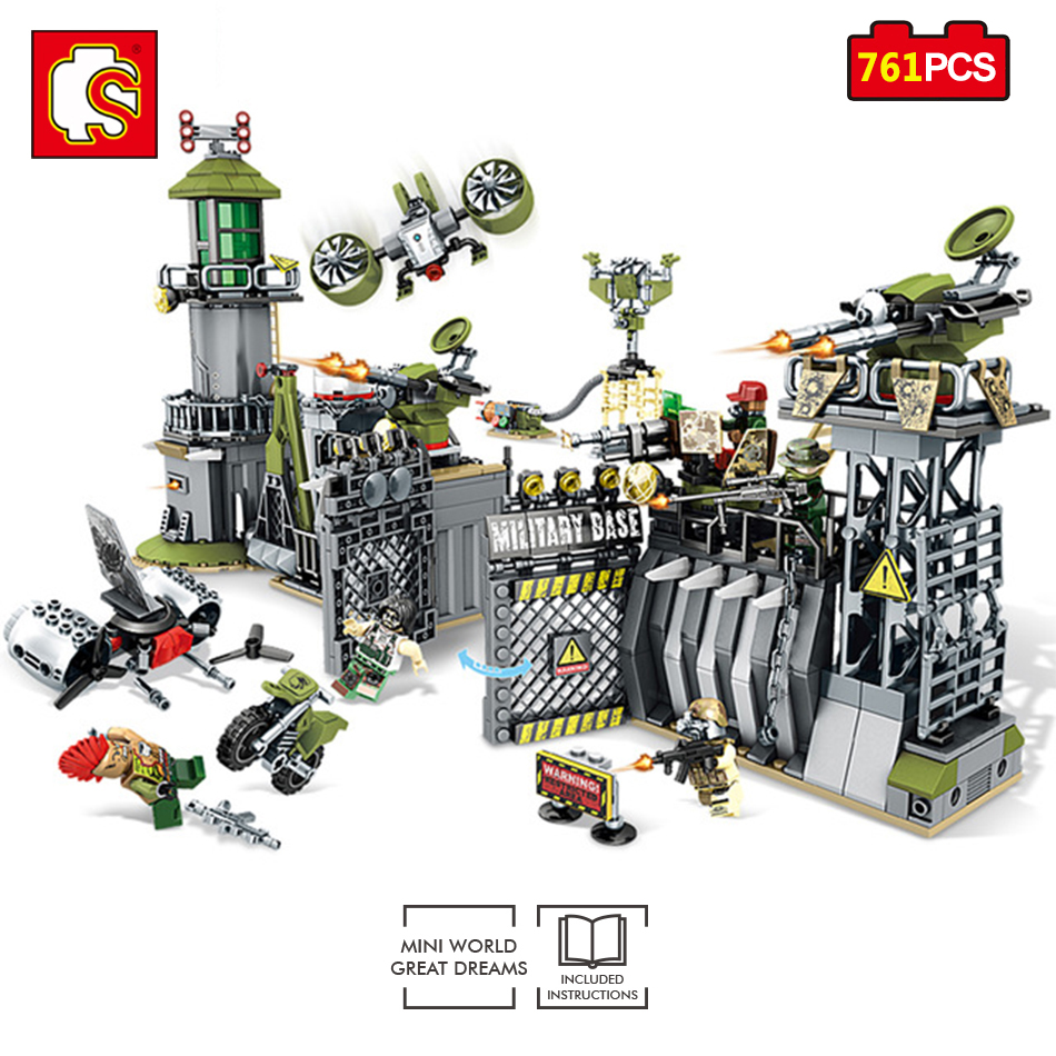 Sembo Toys Military Army Building Bkocks DIY Defensive Wall Mini Action Figures Enlighten Toy For Children Compatible Legos City 284pcs military series sea warships ship blocks toy for boys enlighten building bricks figures toy children diy gift k0308 29013