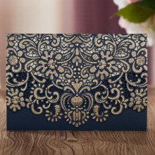 Wishmade Navy Blue Laser Cut Wedding Invitations Cardstock Kits 100pcs with Embossed Flowers Pocket Cards For Party Supplies
