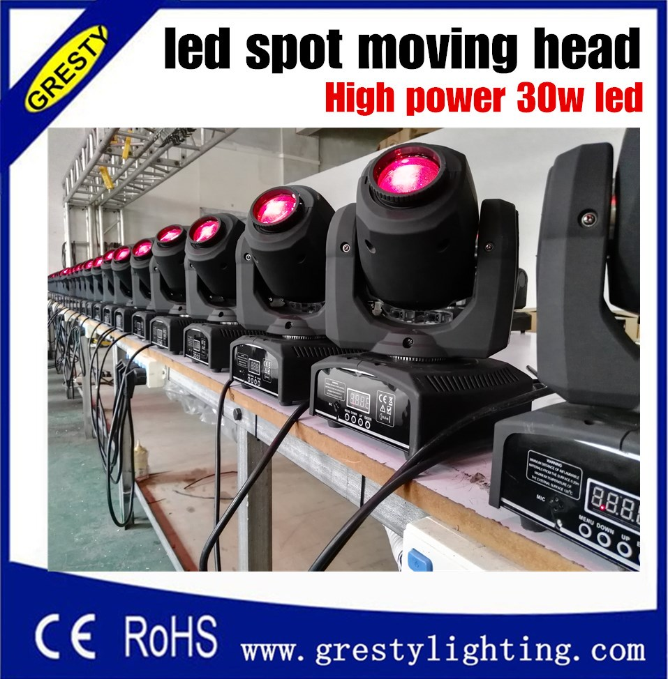 Wholesale China moving heads LED mini 30w Spot Moving Head Light 30W DMX dj 8 gobos effect stage lights 30w patterns light led dmx stage lighting effect 30w led spot moving head disco dj lighting led gobo lamp with free shipping