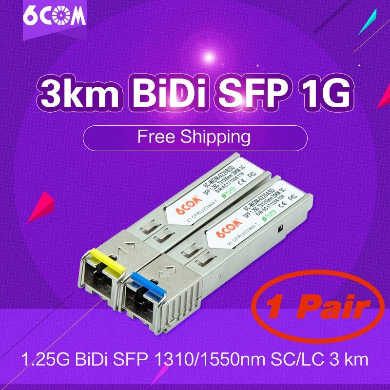 3 km BiDi SFP 1G (Bi-Direzionale, WDM, 1.25 Gbps, SC) DOM/DDM/DDMi (GLC-bx, GLC-BX-U, D/U, A/B, 1310/1550) BiDi Ricetrasmettitore