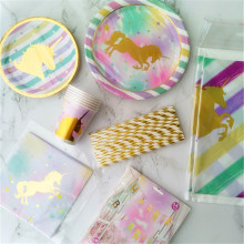24Set Unicorn Paper Plate Cup Napkin Straw Plastic Tablecloth Hanging Banner Boy Girl Favor Decor for Birthday Baby Shower Party(China)