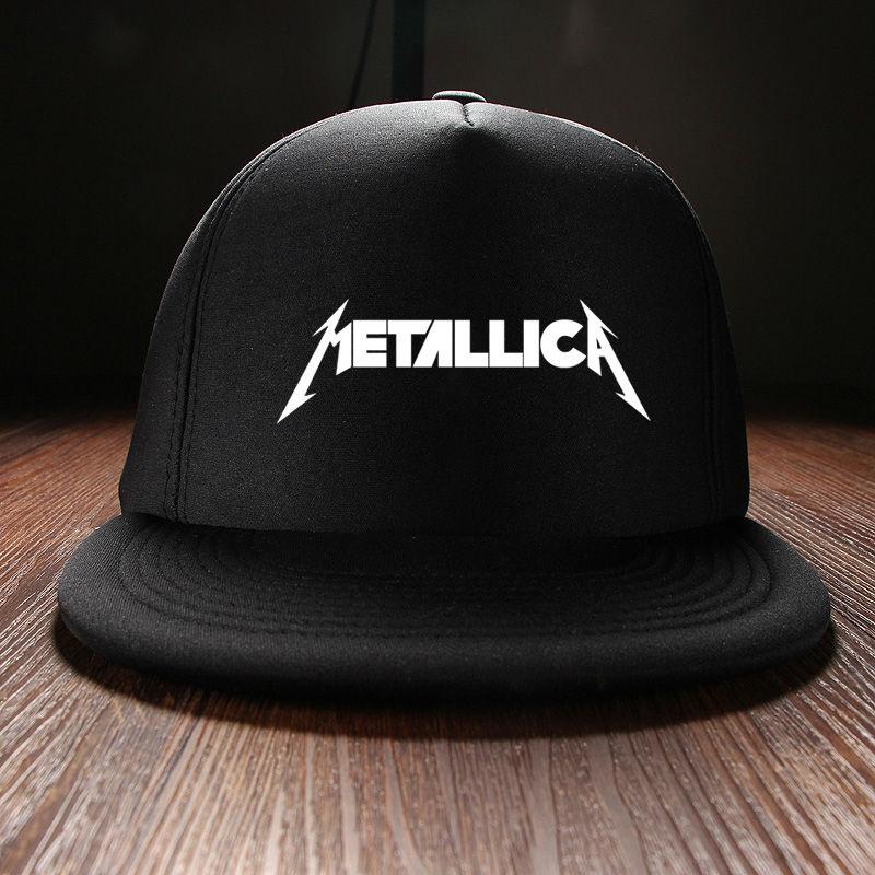 Prix pour Nouveau 2017 Mode Preppy Style Automne Hiver Casquettes Langue de Canard Hip Hop Imprimé Metallica Rock Band Mens Chapeau Visière Cou noir