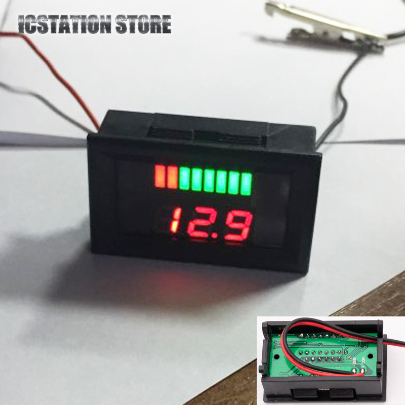 4pcs 12V ACID Lead Battery Indicator Charge Level Voltage Lead-acid Battery Red LED Dual Display аккумуляторная батарея lead acid battery 6v4ah 20hr