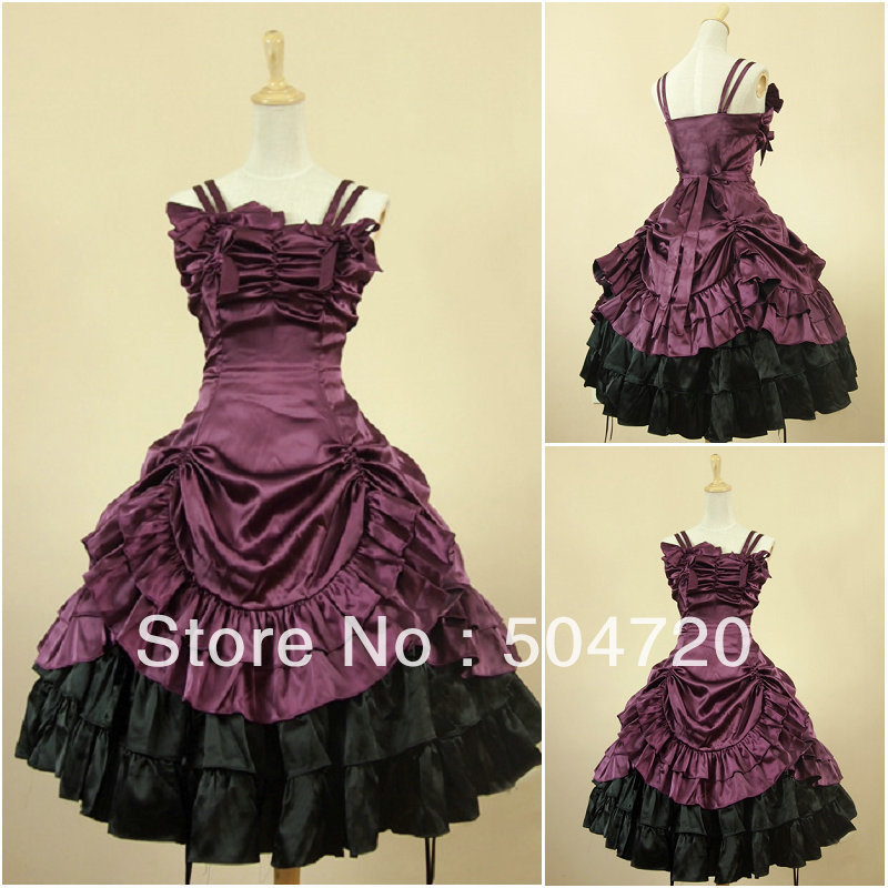 Satin Classic Sweet Lolita Dress victorian dress cosplay Cocktail dress  Size US 6 26 XS 6XL V 904-in Lolita Dresses from Novelty   Special Use on  ... 7faf0bd3810a