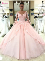 Light Pink Quinceanera Dresses Long Sleeves Ball Gown Princess Sweet 16 Birthday Sweet Girls Prom Party Special Occasion Gowns