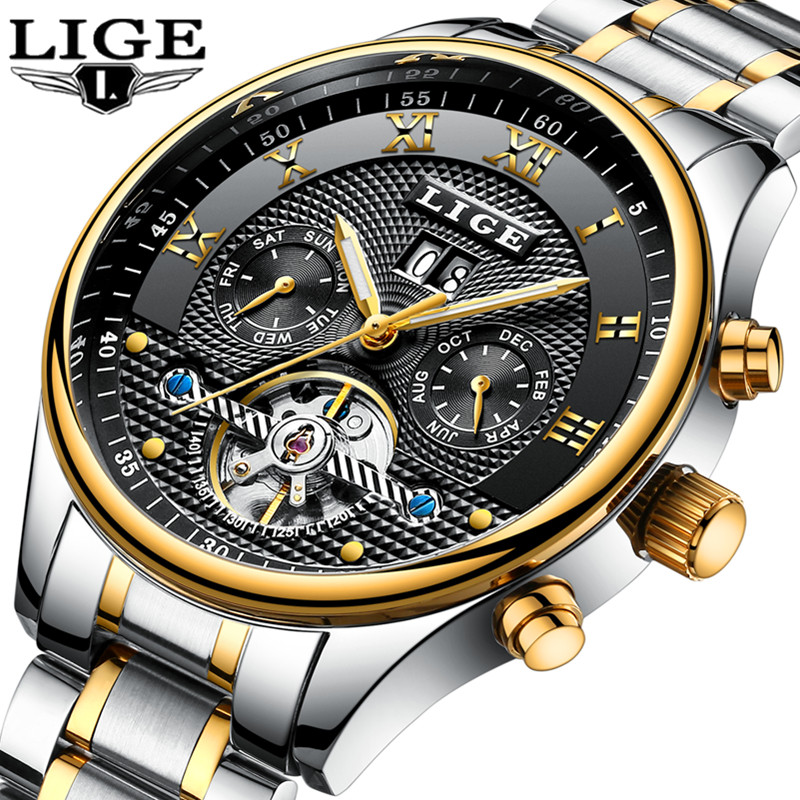 LIGE Mens Watches Top Brand Luxury Automatic Mechanical Watch Men Full Steel Casual Business Clock Sport Watch Relogio Masculino mens watches top brand luxury round steel case business watch men sport tourbillon mechanical watch fashion clock new horloge