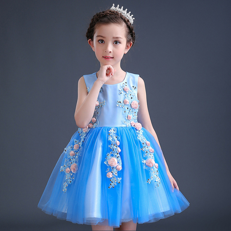 Children's clothing 2017 summer new girl dress Peng Peng princess children's flower fairy six one performance dress купить