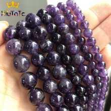 Pedra natural redonda roxa ametista, cristais soltos espaçador contas para fazer jóias colar pulseira diy 15 ''4/6/8/10/12mm