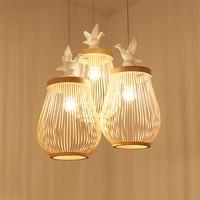 Японский татами деревянная птица светодиодный люстры лампы мастерил Спальня Гостиная исследование подвеска лампа освещения мебель Декор