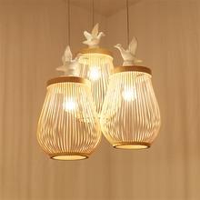 Japanese Tatami Wooden Bird LED Chandeliers Lamp Hade Bedroom Living Room Study Pendant Lighting Furniture Decor Avize