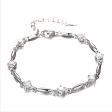 TJP Exquisite Crystal Srones Female Bride Wedding Bracelets Anklets Top Quality 925 Silver For Women Girl Engagement
