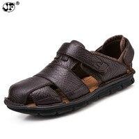 Luxury Genuine Leather Summer Shoes Men Sandals Fashion Male Sandalias Beach Shoes Soft Bottom Breathable 856ui