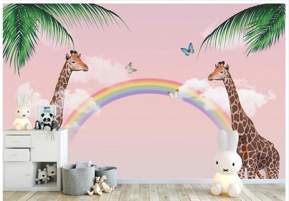 Online Shop Custom 3d Wallpaper For Walls 3 D Wall Murals Cartoon Wallpaper  Kids Wallpaper Giraffe Dream Rainbow Background Wall Home Decor |  Aliexpress ...