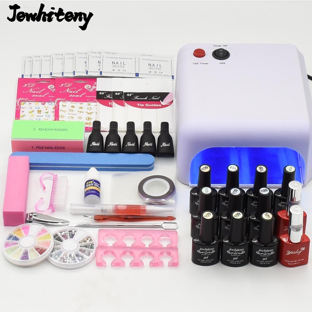 nail art set manicure tools kit 36W UV lamp 10ML uv gel nail polish varnish nail stickers glue file kit base gel top coat nail art manicure tools set uv lamp 10 bottle soak off gel nail base gel top coat polish nail art manicure sets