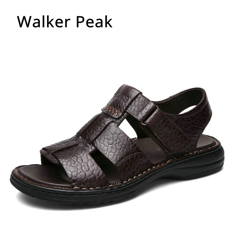 100% Genuine Leather Sandals Men Summer Shoes Design Men Sandals Fashion Rubber Walking Beach Sandals Flat Men Slippers 2017 summer sandals men slippers genuine leather men sandals desing flat summer shoes handmade plus size 13 mb lun